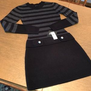 Black and Gray By & By Long Sleeve Sweater Dress S